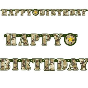 Camouflage letterslinger Happy Birthday